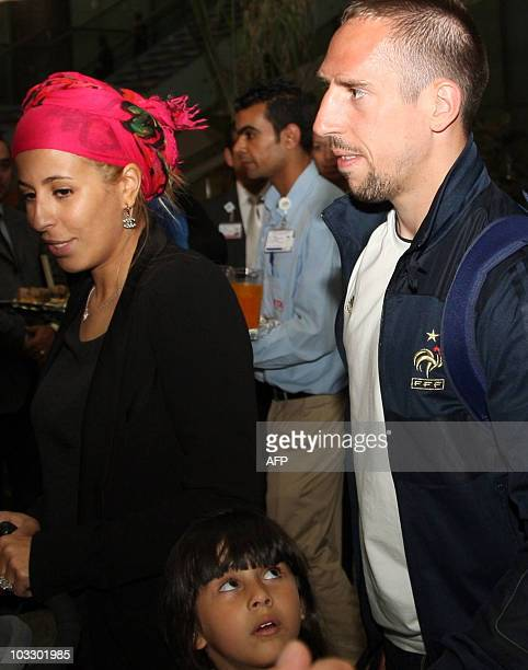 French footballer Franck Ribery his wife Wahiba and his daughter arrive at the Enfidha international airport in Sousse Tunisia on May 27 before a...