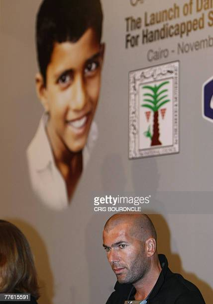French footballing icon Zinedin Zidane participates in announcing a joint corporate and governmental program in Cairo 01 November 2007 to assist...