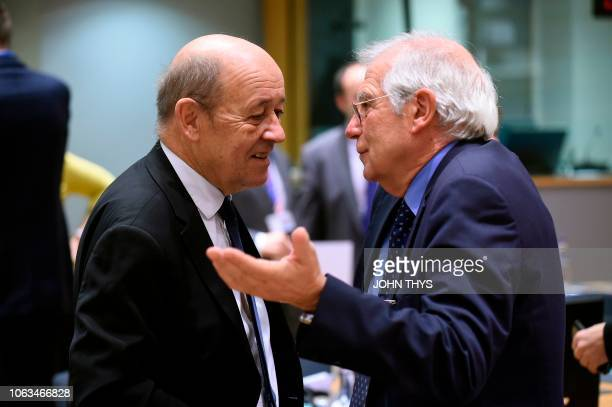 French Foreign Affairs and Europe minister Jean Yves Le Drian talks with Spain's Minister of Foreign Affairs Josep Borrell during an Foreign Affairs...
