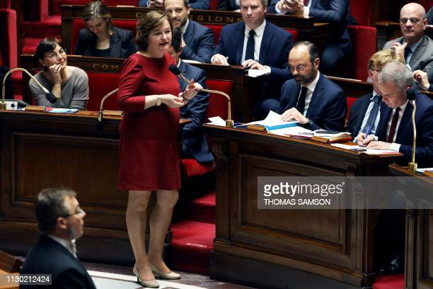 French Foreign Affairs Junior Minister Nathalie Loiseau speaks during a session of questions to the Government at the French National Assembly in...