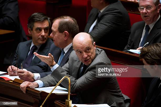 French Foreign Affairs Minister Alain Juppe attends the weekly session of the questions to the government on February 14 2012 at the French National...