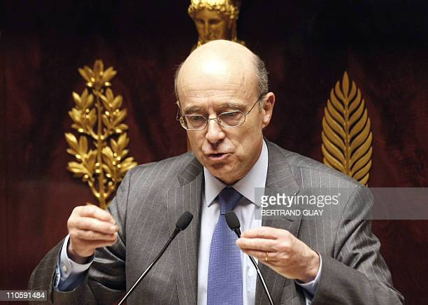 French Foreign Affairs Minister Alain Juppe speaks during a debate with French MP's focused on air strikes over Libya on March 22 2011 at the French...