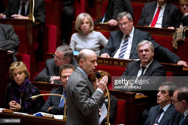 French Foreign Affairs Minister Alain Juppe speaks during the weekly session of the questions to the government on February 14 2012 at the French...