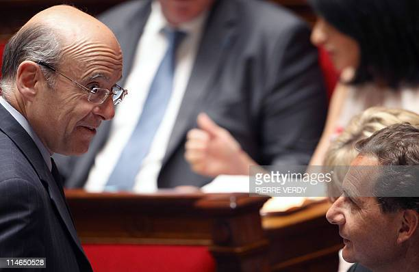 French Foreign Affairs minister Alain Juppe speaks with Industry minister Eric Besson during the weekly session of questions at the National Assembly...