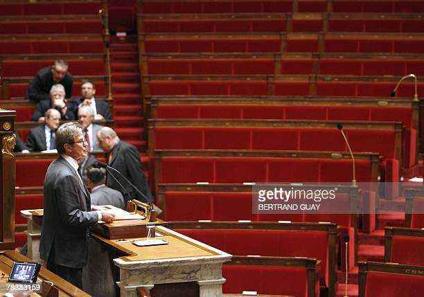 French Foreign Affairs minister Bernard Kouchner delivers a speech on European Affairs 11 December 2007 at the French National Assembly in Paris as...