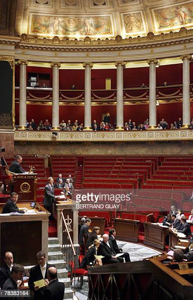 French Foreign Affairs minister Bernard Kouchner delivers a speech on European Affairs 11 December 2007 at the French National Assembly in Paris AFP...