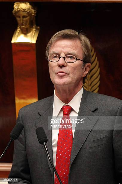 French Foreign Affairs minister Bernard Kouchner delivers a speech on December 16 2009 at the French national Assembly in Paris during a debate...