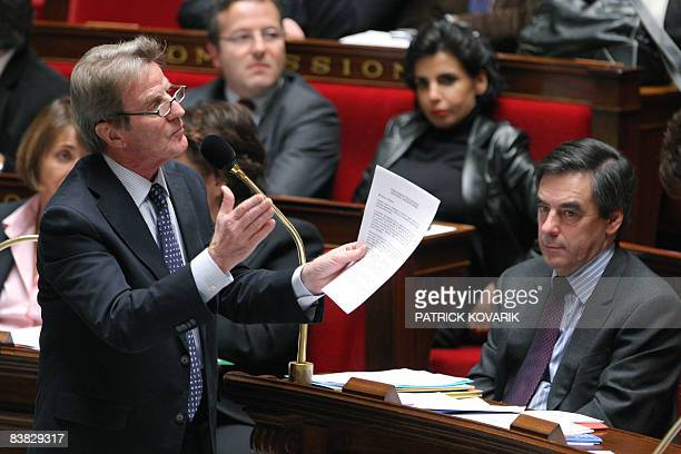 French Foreign Affairs minister Bernard Kouchner delivers a speech during the weekly session of Questions to the government on November 26 2008 at...
