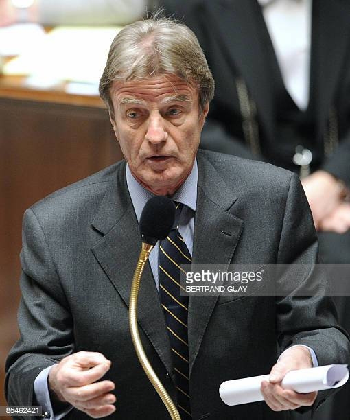 French Foreign Affairs minister Bernard Kouchner delivers a speech during the weekly session of questions to the governement on March 17 2009 at the...