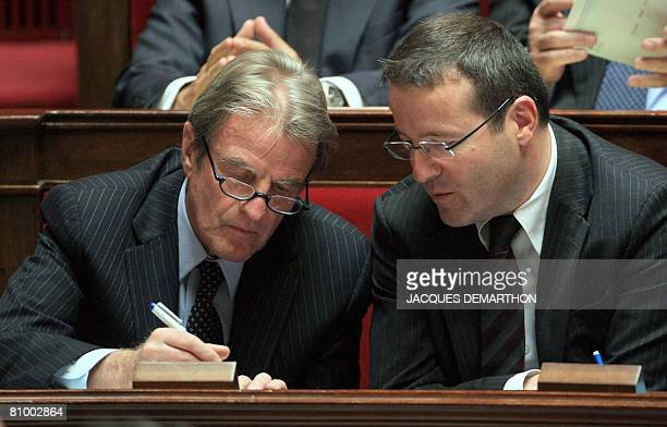 French Foreign Affairs Minister Bernard Kouchner speaks withHigh commissioner for Active Solidarities Martin Hirsch during the weekly session of the...