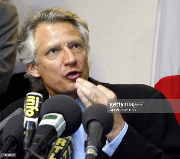 French Foreign Affairs minister Dominique de Villepin answers media's questions at a press conference at the end of the General Affairs Council held...