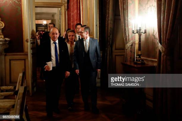 French Foreign Affairs Minister JeanYves Le Drian and his German counterpart Heiko Maas arrive for a joint press conference at The Foreign Ministry...