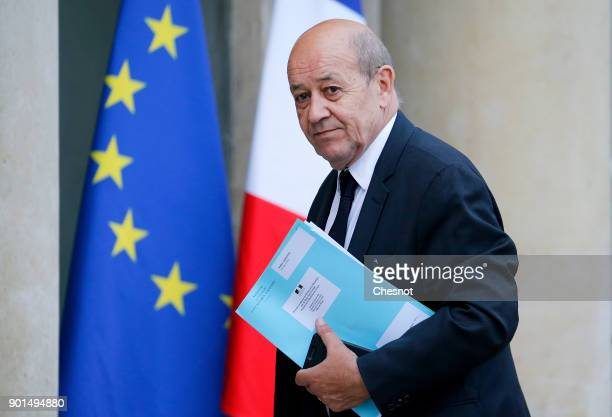 French Foreign Affairs minister JeanYves Le Drian arrives at the Elysee Presidential prior a meeting with French President Emmanuel Macron and...