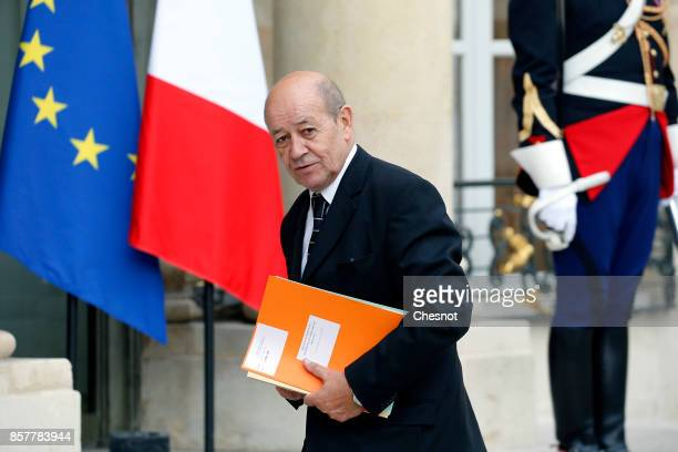 French Foreign Affairs minister JeanYves Le Drian arrives at the Elysee Presidential French for a meeting with French President Emmanuel Macron and...