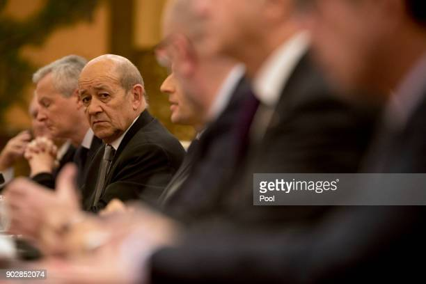 French Foreign Affairs Minister JeanYves Le Drian attends a meeting between French President Emmanuel Macron and Chinese President Xi Jinping at the...