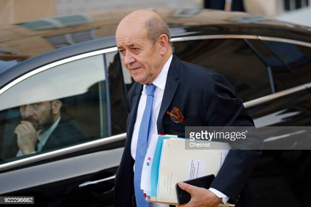French Foreign Affairs minister JeanYves Le Drian leaves the Elysee Palace after a lunch with French President Emmanuel Macron and Liberia's...