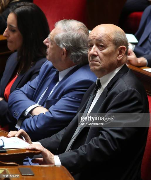 French Foreign Affairs Minister JeanYves Le Drian looks on at The National Assembly in Paris on August 9 2017 The French parliament is voting on an...