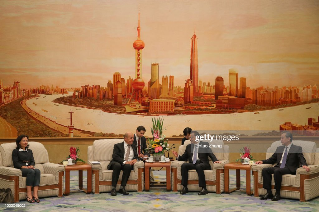 French Foreign Minister Jean-Yves Le Drian Meets Chinese Premier Li Keqiang