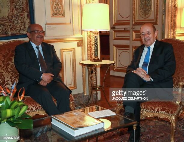 French Foreign Affairs Minister JeanYves Le Drian meets his Algerian counterpart Abdelkader Messahel at the Foreign Affairs Ministry in Paris on...