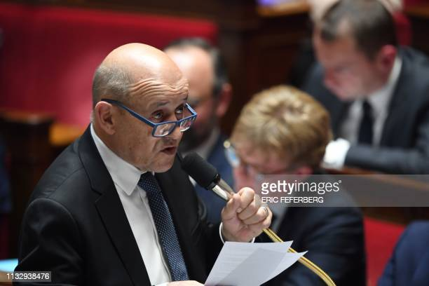 French Foreign Affairs Minister JeanYves Le Drian speaks during a session of questions to the government at the National Assembly in Paris on March...