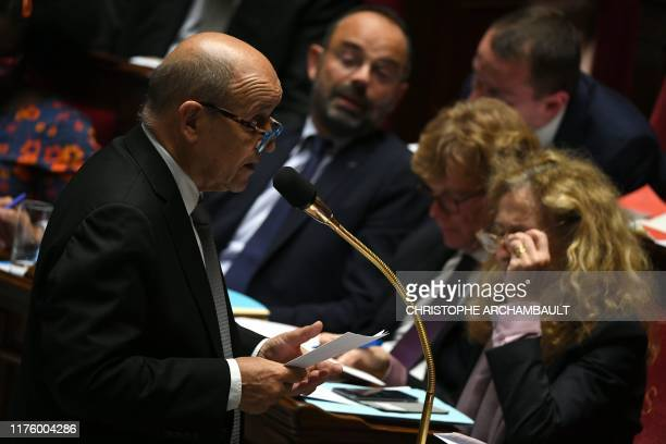 French Foreign Affairs Minister JeanYves Le Drian speaks during a session of questions to the government at the National Assembly in Paris on October...