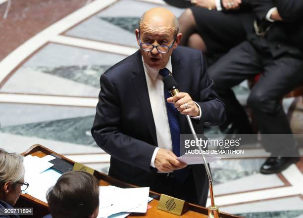 French Foreign Affairs Minister JeanYves Le Drian speaks during a session of questions to the government on January 24 2018 at the National Assembly...