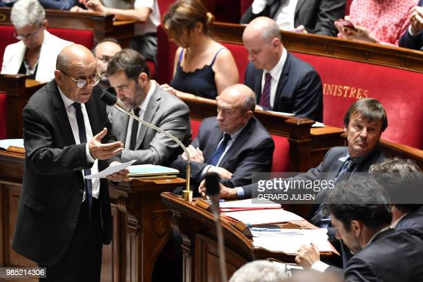 French Foreign Affairs Minister JeanYves Le Drian speaks during a session of questions to the Government at the French National Assembly in Paris on...