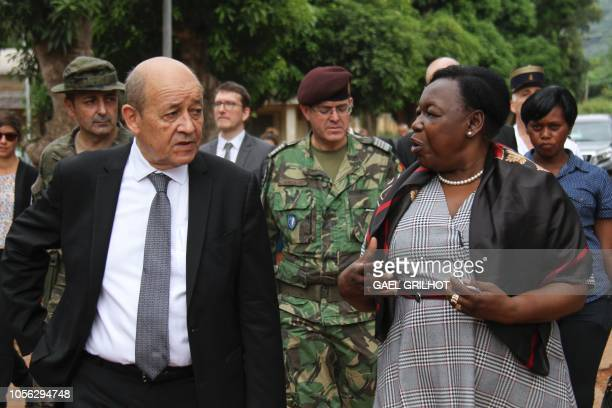 French Foreign Affairs Minister JeanYves Le Drian speaks with Central African Republic's Defence minister MarieNoelle Koyara as he visits the EUTM...
