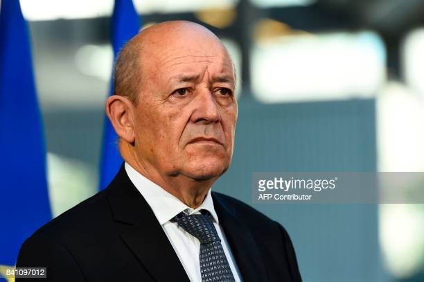French Foreign Affairs Minister JeanYves Le Drian visits the startup incubator Station F in Paris on August 31 2107 / AFP PHOTO / Bertrand GUAY