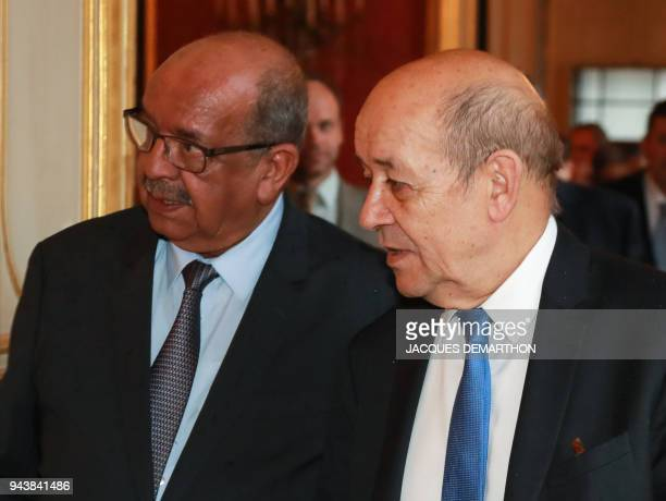 French Foreign Affairs Minister JeanYves Le Drian welcomes his Algerian counterpart Abdelkader Messahel at the Foreign Affairs Ministry in Paris on...