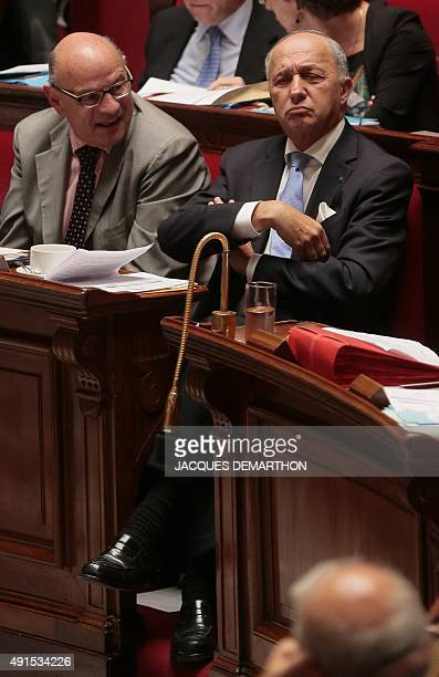 French Foreign Affairs Minister Laurent Fabius and French Junior Minister for Parliamentary Relations JeanMarie Le Guen attend a session of questions...