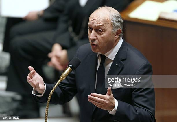 French Foreign Affairs minister Laurent Fabius answers members of Parliament during a session of questions to the government on November 26 2014 at...