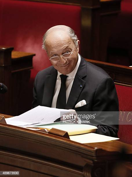 French Foreign Affairs minister Laurent Fabius attends a debate on November 28 2014 in the French National Assembly in Paris on a motion urging the...