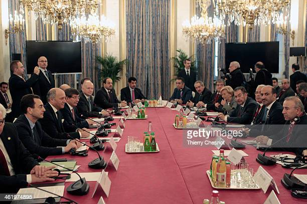 French Foreign Affairs Minister, Laurent Fabius conducts an international meeting of the Friends of Syria Core Group on January 12, 2014 in Paris,...