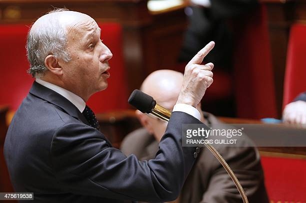 French Foreign Affairs minister Laurent Fabius gestures as he speaks during a session of questions to the government at the French National Assembly...