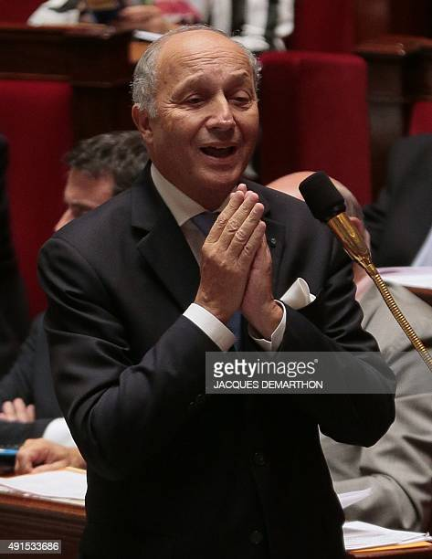 French Foreign Affairs Minister Laurent Fabius gestures during a session of questions to the government at the National Assembly in Paris on October...