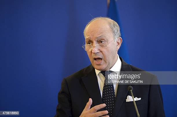 French Foreign Affairs Minister Laurent Fabius gives a joint press conference following a meeting with Foreign Affairs ministers of members of the...