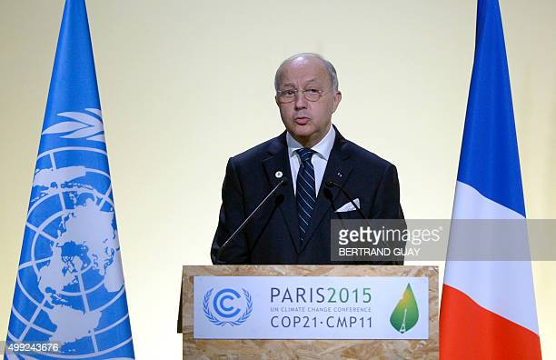 French Foreign Affairs Minister Laurent Fabius, president-designate of COP21, speaks during the opening of the UN conference on climate change, on...