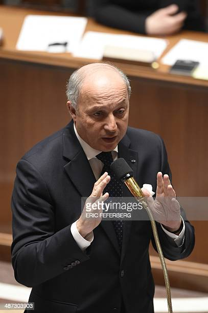 French Foreign Affairs minister Laurent Fabius speaks during a session of questions to the government on April 29 2014 at the French national...