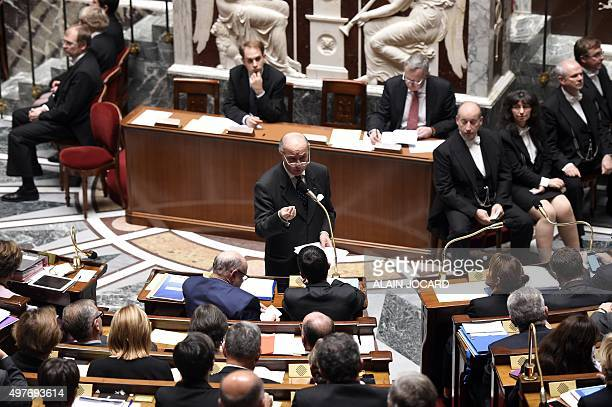 French Foreign Affairs minister Laurent Fabius speaks during a session of questions to the Government at the French National Assembly on November 18...