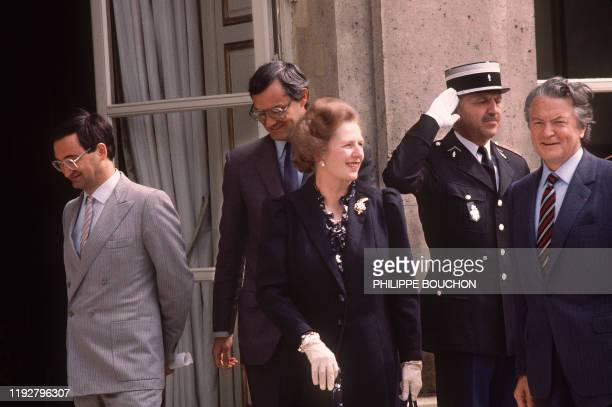 French Foreign Affairs Minister Roland Dumas meets British Prime Minister Margaret Thatcher on May 41984 at Paris as part of the bilateral...