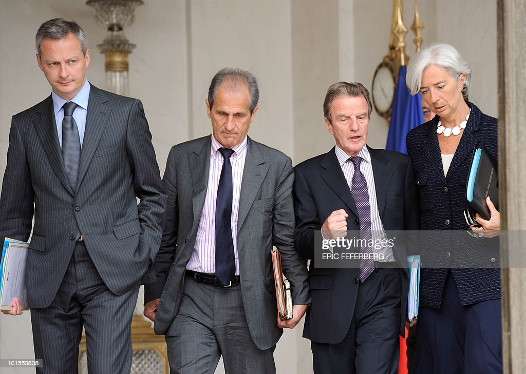 French Foreign and European affairs minister Bernard Kouchner (2ndR), French Economy, Industry and Employment minister Christine Lagarde (R), French Agriculture Fisheries and Food minister Bruno Le Maire (L) and French Junior Minister for Veterans' affairs Hubert Falco (2ndL) leave the Elysee palace at the end of the weekly cabinet meeting on June 2, 2010 at the Elysee Palace in Paris.