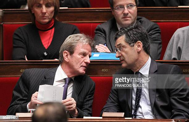 French Foreign and Eurpean affairs minister Bernard Kouchner talks with Minister responsible for the Government's economic recovery plan Patrick...