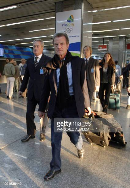 French Foreign Bernard Kouchner arrives in Rio de Janeiro's international airport on June 4 to participate in a ceremony tribute for the victims of...