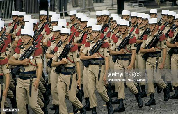 French Foreign Legion Parading on the Champs Elysees during the Bastille Day celebrations Paris France