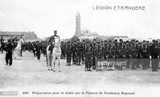 French Foreign Legion preparing to march on the Plateau Faubourg Bugeaud Algeria 20th century French postcard
