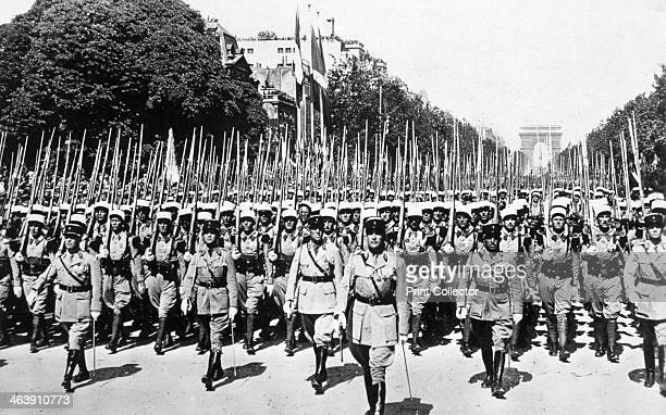 French Foreign Legion review Paris 14 July 1939 Soldiers of the Legion parading on Bastille Day on the 150th anniversary of the French Revolution...