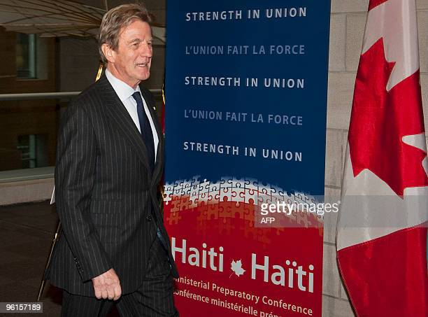 French Foreign Minister Bernard Kouchner arrives for the Haiti Ministerial preparatory conference at the ICAO on January 25 2010 in Montreal Quebec...