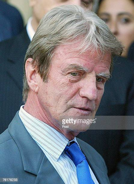 French Foreign Minister Bernard Kouchner attends a memorial outside the UN headquarters in the Green Zone on August 19 2007 in Baghdad Iraq The visit...