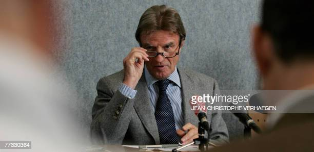 French Foreign Minister Bernard Kouchner gives a press conference 15 October 2007 during an External Relations Council meeting at EU headquarters in...